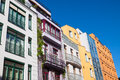 Colourful modern townhouses some seen in berlin Stock Image