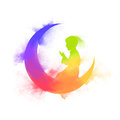 Colourful Moon with Praying Boy for Ramadan. Royalty Free Stock Photo