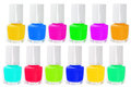 Colourful nail polishes bottles of on white background Royalty Free Stock Photography