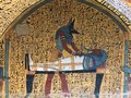 Colourful wall drawings in workers tombs in Luxor in Egypt Royalty Free Stock Photo