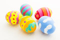Colourful painted easter egg close up Stock Images