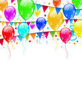 Colourful party balloons confetti with space for text illustration Stock Photo