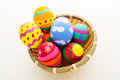 Colourful pattern easter egg in basket Stock Image