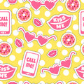 Colourful pattern with funny stickers. Kiss me. Call me.