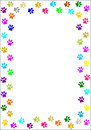 Colourful paw prints border. Royalty Free Stock Photo