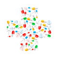 Colourful Pills In Cross Shape...
