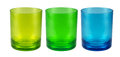 Colourful plastic cups on white Royalty Free Stock Photo