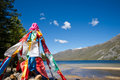 Colourful prayer flags with lake landscape Royalty Free Stock Photography