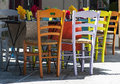 Colourful restaurant table and chairs in avignon french Royalty Free Stock Images