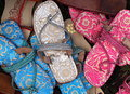 Colourful sandals with intricate design for sale Stock Photography