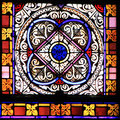 Colourful seamless stained glass in chusclan france window panel Stock Photo