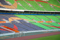 Colourful seats in the stadium structure Royalty Free Stock Image