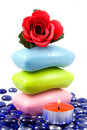 Colourful soap and aroma rose Stock Images