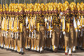Colourful soldiers marching in bright yellow trimmed uniform parading down the raj path in preparation for the annual republic day Royalty Free Stock Photos