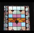 Colouful stained glass window, black background, Adelaide, Australia Royalty Free Stock Photo
