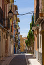 Colourful street houses in the old town of villajoyosa valencia Royalty Free Stock Images