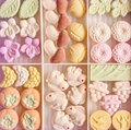 Colourful sugar Japanese Higashi sweets in a box Royalty Free Stock Photo