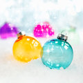 Colourful translucent glass baubles Royalty Free Stock Images