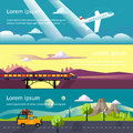 Colourful vector flat banner set for your business web sites etc quality design illustrations elements and concept journey by car Royalty Free Stock Photos