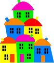 Colourful village Stock Image