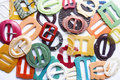 Colourful vintage belt buckles Royalty Free Stock Photo
