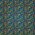 Colourful vintage pattern on a blue background Royalty Free Stock Photo