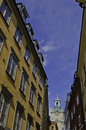 Colourful walls of old stockholm the town Royalty Free Stock Images