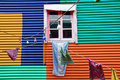Colourful window with laundry in La Boca Royalty Free Stock Photos