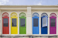 Colourful windows newly renovated in phuket town Stock Images