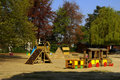 Colourful wooden children playground. Royalty Free Stock Photo