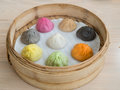 Colourful xiao long bao shanghai style steamed pork dumplings Stock Photography