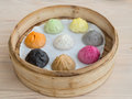 Colourful xiao long bao shanghai style steamed pork dumplings Stock Images