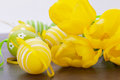Colourful yellow and green spring Easter Eggs Stock Photography