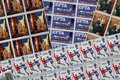 A colourfull collection of mint british stamp sheets condition great Stock Photos