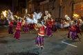 Colourfully dressed dancers at the Esala Perahera in Kandy, Sri Lanka. Royalty Free Stock Photo