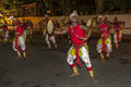 Colourfully dressed dancers perform along the streets of Kandy, Sri Lanka during the Esala Perahara. Royalty Free Stock Photo