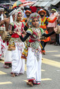 Colourfully dressed dancers perform during the Hikkaduwa Perahara on the west coast of Sri Lanka. Royalty Free Stock Photo