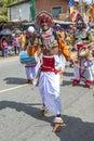 A colourfully dressed performer at the Hikkaduwa Perahara in Sri Lanka. Royalty Free Stock Photo
