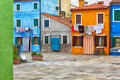 Colourfully painted house facade on Burano Royalty Free Stock Photo