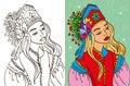 Colouring Book Of Girl In Kokoshnik
