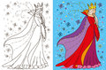 Colouring Book Of Snow Queen Royalty Free Stock Photo