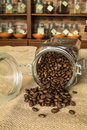Columbia supremo cofee beans jar with coffee on shop Royalty Free Stock Image