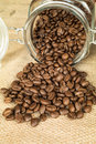Columbia supremo cofee jar with coffee beans Stock Photo
