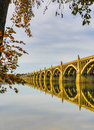 Columbia to wrightsville bridge spans susquehanna river view of from shore showing reflection in calm waters during fall Stock Images