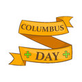 Columbus Day ribbon icon, cartoon style