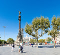 Columbus Monument on September 14, 2012 in Barcelona, Spain. Stock Photography