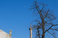 Column with a cross, tree, roof and moon Royalty Free Stock Photo