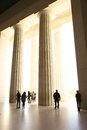 Column entranceway with people marble columns greco roman styling unrecognizable Stock Photography