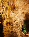 A Column and Flowstone in Carlsbad Caverns Royalty Free Stock Photo