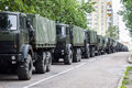A column of military trucks. Independence Day, parade Minsk, Belarus. Royalty Free Stock Photo
